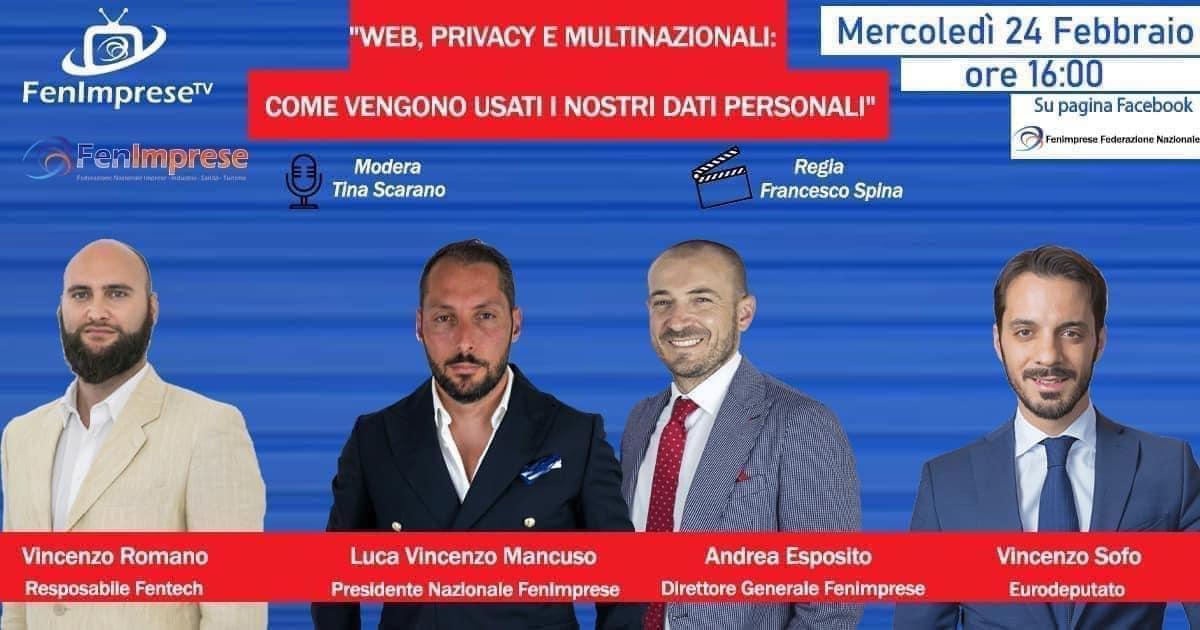 """Il nostro A.D. Andrea Esposito nella lice: """"WEB PRIVACY E MULTINAZIONALI COME VENGONO USATI I NOSTRI DATI PERSONALI"""""""