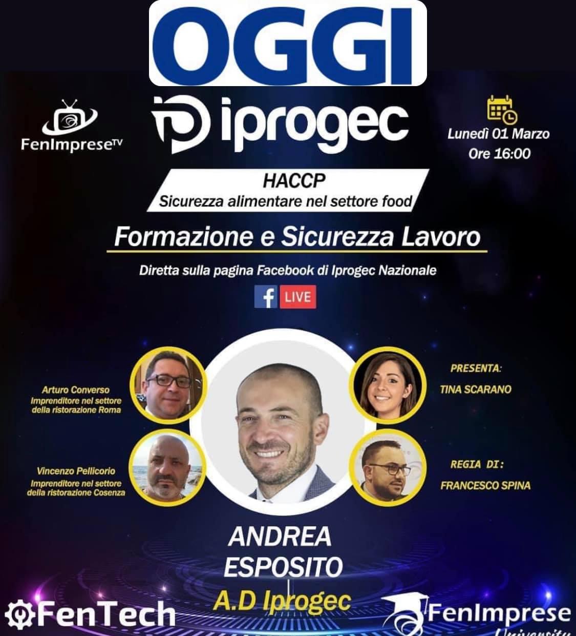 Haccp: L' Amministratore Delegato Iprogec, Andrea Esposito, incontrerà imprenditori esperti nel settore: